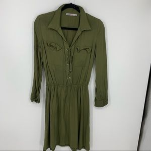 Just fab army green l Dress tie front